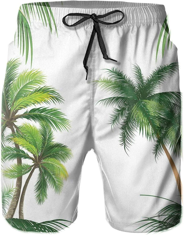 Coconut Palm Tree Nature Paradise Plants Foliage Leaves Digital Illustration Mens Swim Shorts Casual Workout Short Pants Drawstring Beach Shorts,XXL