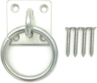 Will's Family Store 2 inch Wall Mount Tie Ring with Square Plate Zinc Plated