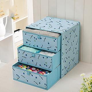 DWW-Panier de rangement Boîte de rangement en tissu tiroir armoire de rangement boîte trois sous-vêtements finition boîte ...