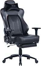 VON RACER Big & Tall 350lbs Massage Gaming Chair with Retractable Footrest - Adjustable Back Angle and Arms Ergonomic High-Back Leather Racing Executive Computer Desk Office Chair Metal Base, Black
