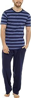 Tom Franks Mens Stripe Cotton Jersey Long Pyjamas