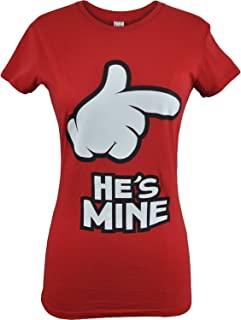 Hes Mine Shes Mine Cartoon Hand Couples Shirts Valentines Day Tee
