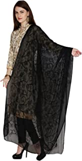 Dupatta Bazaar Woman's Black Embrodiered Chiffon dupatta