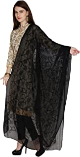 Dupatta Bazaar Woman's Embroidered Black Chiffon Dupatta, with Lace Border