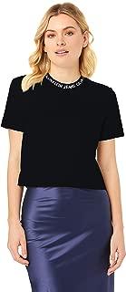 Calvin Klein Jeans Women's Neck Logo Modern Straight Crop Tee, Ck Black, S