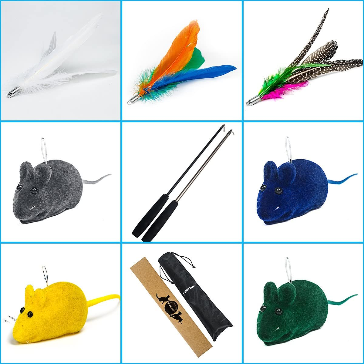 11in1 2021 new Chicago Mall Cat Feather Teaser Toys Catnip Retractable with Wand Poles