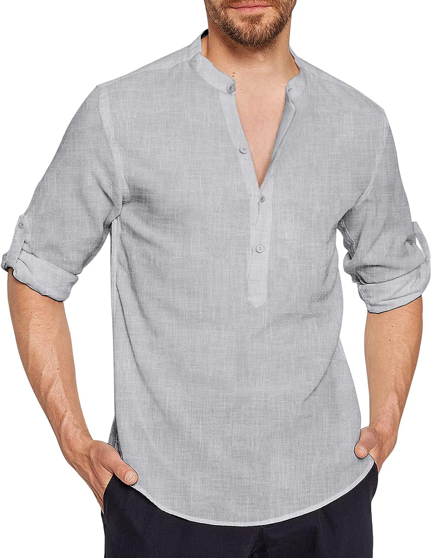 JINIDU Men's Linen Henley Shirts Long Sleeve Cotton Casual Beach Hippie T Shirt