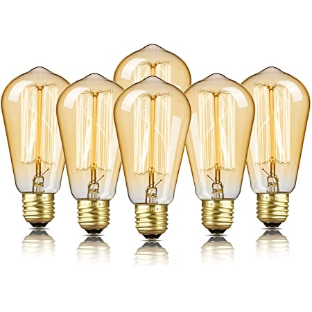 6-Pack Edison Bulb, DecorStar Edison Light Bulbs, Antique Vintage Squirrel Cage Filament Bulb, 60W, 2200K Amber Warm, 230 Lumens, 110V, E26, ST58 Dimmable Lamp for Home Light Fixtures and Decorative