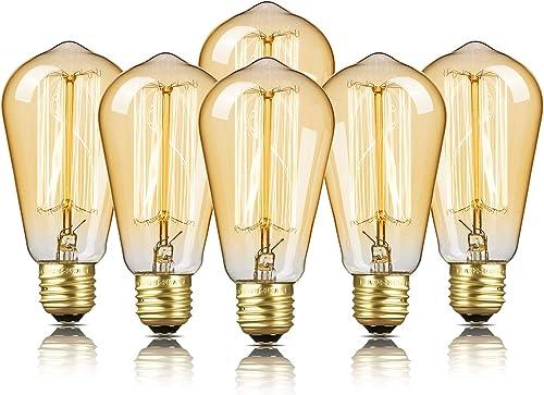 6-Pack Edison Bulb, DecorStar Edison Light Bulbs, Antique Vintage Squirrel Cage Filament Bulb, 60W, 2200K Amber Warm,...