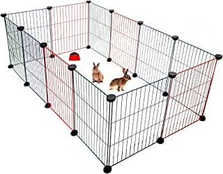 BINGPET Pet Playpen for Small Animals - Metal Wire Pet Fence for Rabbits, Guinea Pigs, Puppies - Mixed Colors Indoor Outdoor Cage (12 Panels, 15.7 X 11.8 Inches)