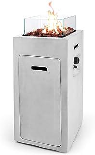 Ultranatura Gas-Feuerstelle, quadratische Form, Spezialglas-Umrandung gegen Wind, inkl. Lavasteine zur Dekoration, Betrieb mit Propan-Gasflaschen, hochwertiger Outdoor-Werkstoff