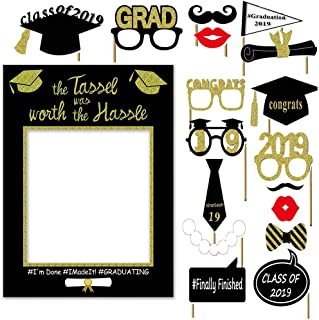 2019 Graduation Photo Booth Props Glitter Congratulations Graduation Party Decorations Class of 2019 Grad Photo Booth Frame Graduation Party Supplies Party Favors DIY Kit