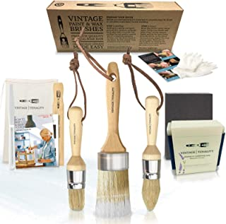Vintage Tonality Pro Chalk & Wax Brush Set for Painting Furniture, 3 Paint Brushes, Works with Milk Paint, Clear Wax, Home Decor Large & Small Natural Hair Bristles Round, Oval, Flat Bristle Head