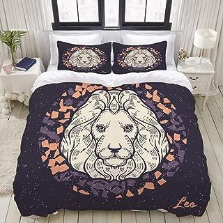 MIGAGA Duvet Cover Set, Zodiac Sign Leo Symbol Astrological Horoscope, Decorative 3 Piece Bedding Set with 2 Pillow Shams