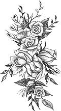 DaLin 4 Sheets Flower Temporary Tattoos for Women Men (Black Rose Style 5)