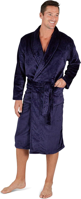 Eddie Bauer Plush Robe for Men, Soft Fleece Spa Bath Robe with Belt