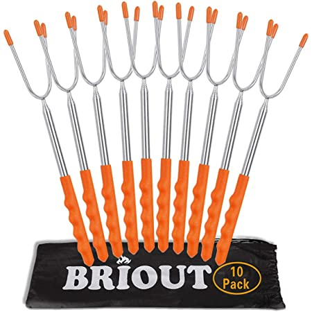 BRIOUT Marshmallow Roasting Sticks 10 Pack Extra Long 45'' Stainless Telescoping Hot Dog Smores Skewers Kids Safe Barbecue Forks for Campfire, Bonfire and Grill