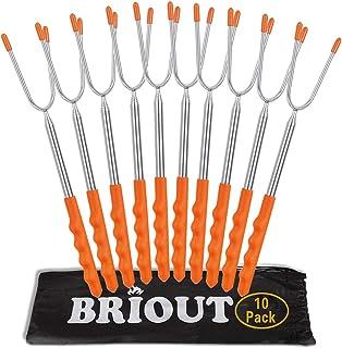 Briout マシュマロ焙煎 キャンプファイヤー、たき火やグリル用 子供 安全なバーベキューフォーク10パックエクストラロング45本 ステンレス伸縮式ホットドッグsmores 串スティック オレンジ