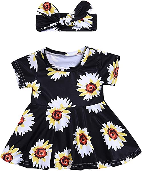 Ivyi Baby Girls Floral Print Dresses Heads Set O Collar Short Sleeve Dress 1903 Black 12M United Ates