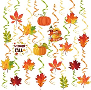 Fall Thanksgiving Hanging Swirl Decorations - Autumn Thanksgiving Hanging Swirl Foil Decorations for Home Office School, Fall Party Favors Supplies by ACXOP