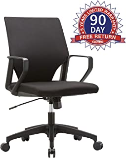 Ergonomic Mid-Back Upholstered Swivel Task Chair with Black Plastic Arm Rest and Base for Home and Office