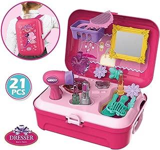 WenToyce Pretend Play Make up Kit Little Girls Dress-up Fake Cosmetic Set with Storage Backpack Box-No Mess Kids Beauty Salon