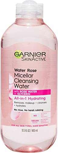 Garnier SkinActive Micellar Cleansing Water with Rose Water and Glycerin, All-in-1 Hydrating, For Normal to Dry Skin,...