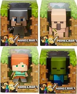 Minecraft Mega Group 4 Figures Enchanted Game Character Bundle Green Block Zombie Figure / Alex Golden Pickaxe / Iron Golem / Steve in Armor 4 Items 8-bit Retro Style