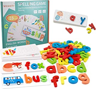 See and Spell Learning Toy Spelling Puzzle Sight Words Matching Game Montessori Preschool Educational Toys for Kids Boys G...