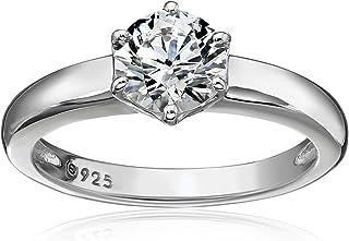 حلقه نقره ای پلاتینی یا استریلینگ با روکش طلائی حلقه یک نفره ساخته شده با Swarovski Zirconia