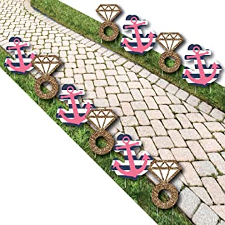 Last Sail Before The Veil - Diamond Ring and Anchor Lawn Decorations - Outdoor Nautical Bachelorette Party Yard Decorations - 10 Piece