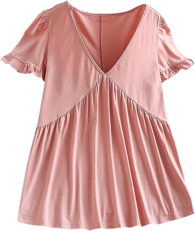 Floerns Women's Plus Size Solid V Neck Short Sleeve Babydoll Peplum T Shirt
