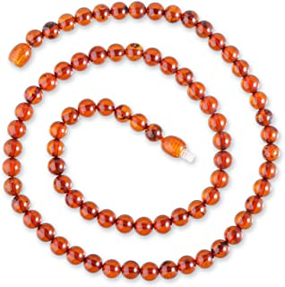 Genuine Amber Necklace - Exclusive Round Baltic Sea Amber Beads Hand-Assembled in Europe - Premium Natural Jewelry - Cognac