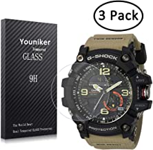Youniker 3 Pack for Casio GG-1000 Screen Protector Tempered Glass for Casio Men's G Shock GG1000 Watch Screen Protector Foils Glass 9H Hardness 0.3MM Slim, Anti-Scratch, Anti-Fingerprint, Bubble Free