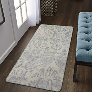 Lahome Damask Area Rug - 2' X 4' Non-Slip Area Rug Small Accent Distressed Throw Rugs Floor Carpet for Door Mat Entryway Bedrooms Laundry Room Decor (2' X 4', Gray)