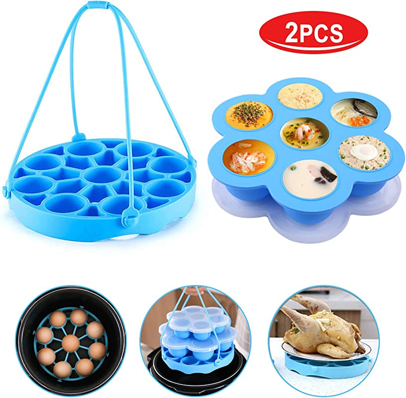Pressure Cooker Sling Upgrade Version Silicone Bakeware Sling For Instant Pot 6 Qt 8 Qt Silicone Steamer With Handles Compatible With Other Brand Multi Function Cookers Blue