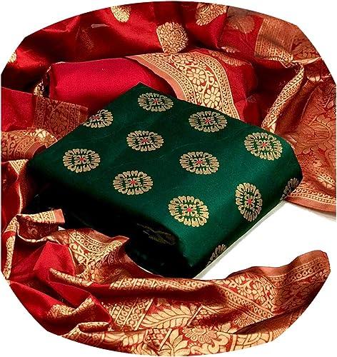 women s jacquard dress material with banarasi silk dupatta
