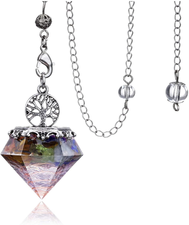 7 Chakra Dowsing pendulum Crystal Divination Tree Of Life Orgonite Pyramid Scrying Dowser Reiki Healing Stone Energy Generator for Divination, Protection, Energy Healing Balancing Meditation Decor