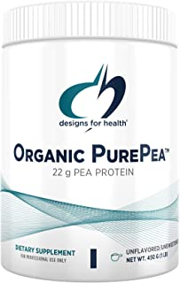 Designs for Health Organic PurePea Powder, Unflavored + Unsweetened - 22g Vegan Protein from Non-GMO, Natural Pea Protein ...