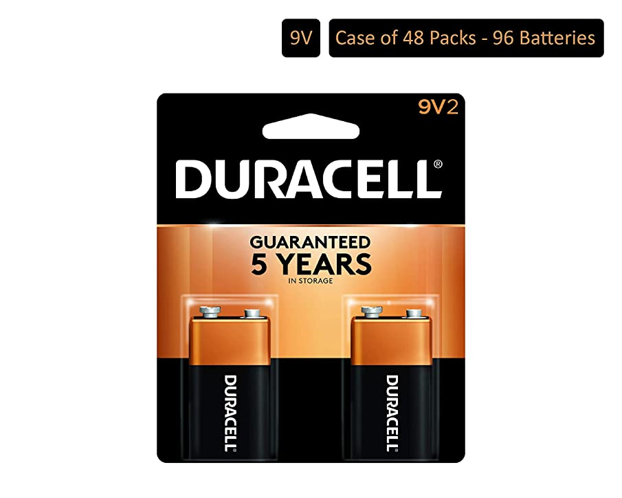 Duracell - CopperTop 9V Alkaline Batteries - Long Lasting, All-Purpose 9 Volt Battery for Household and Business - 2 Count (Pack of 48)