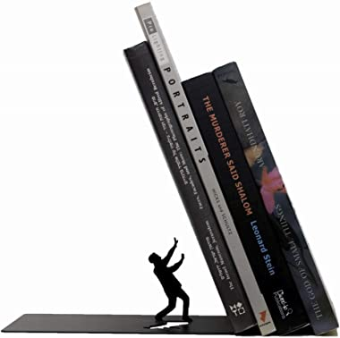 Artori Design Premium Heavy-Duty Metal Bookend - Black Book Stopper for Office Desk or for Shelves - Funny Decorative Book En