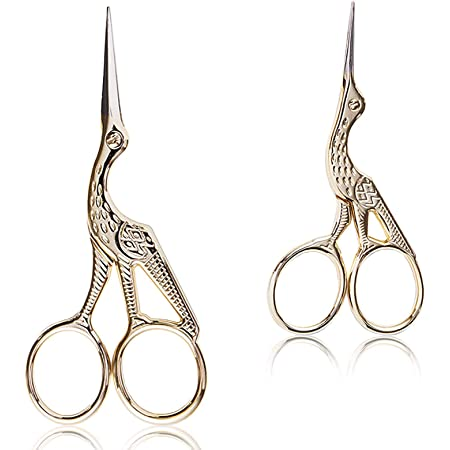 BIHRTC 2 Pairs 4.5'' and 3.6'' Scissors Sharp Tip Classic Stork Scissors Crane Design Sewing Scissors DIY Tools Small Shear for Crafting Embroidery Needle Work Art Work Everyday Use Gold Scissors