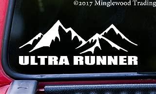 "Minglewood Trading White - Ultra Runner 8"" x 3"" Vinyl Decal Sticker -Running 50K 50M 100K 100M Car Mountains Trail Running- 20 Color Options"