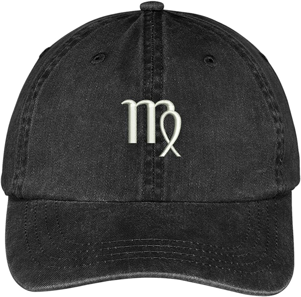 Trendy Apparel Shop Virgo Zodiac Signs Embroidered Soft Crown 100% Brushed Cotton Cap