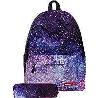 JOSEKO Student Galaxy Pattern Backpack (Black/Pencil Case)