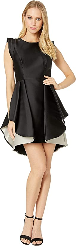 Structured Cap Sleeve Dress with Dramatic Skirt