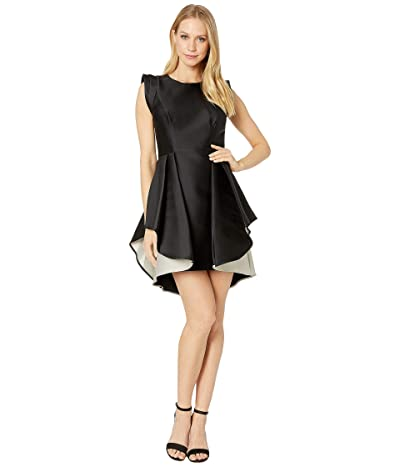 Halston Heritage Structured Cap Sleeve Dress with Dramatic Skirt (Black/Champagne 1) Women
