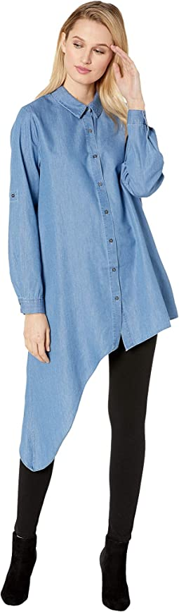 Chambray Asymmetric Hem Button Down