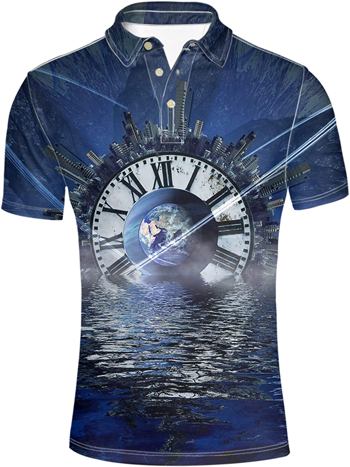 discount HUGS IDEA Safety and trust Galaxy Star Stylish Men's Slim Short Fit Sleeves Shirt