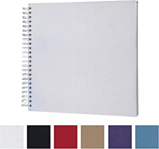 12 x 12 Inch DIY Scrapbook Photo Album Hardcover Kraft Blank White Page Wedding and Anniversary Family Photo Album (White, 12Inch)